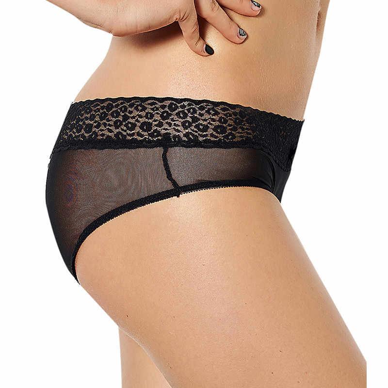 Colaless 女性のセクシーなパンティー女性下着透明オープンクロッチプラスサイズ女性ひも黒レースブリーフファム XL-3XL PS5063