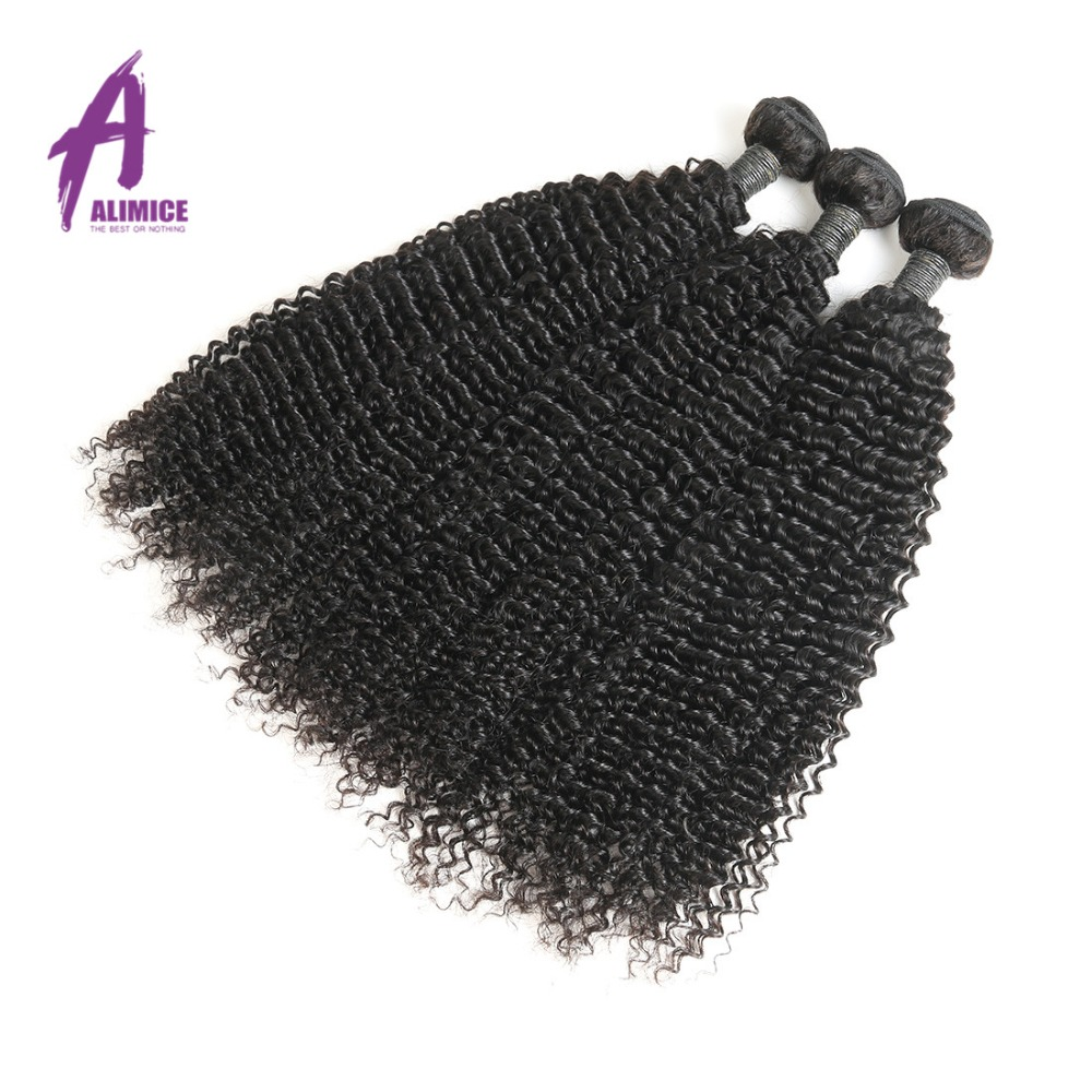 ALIMICE Brazilian Kinky Curly Non-Remy Hair 100% Human Hair Weave - Menneskehår (sort)