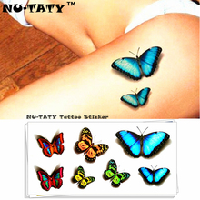 Nu-TATY Luminous Butterfly 3d Temporary Tattoo Body Art Flash Tattoo Sticker 19x9cm Waterproof Tatoo Home Decor Wall Sticker