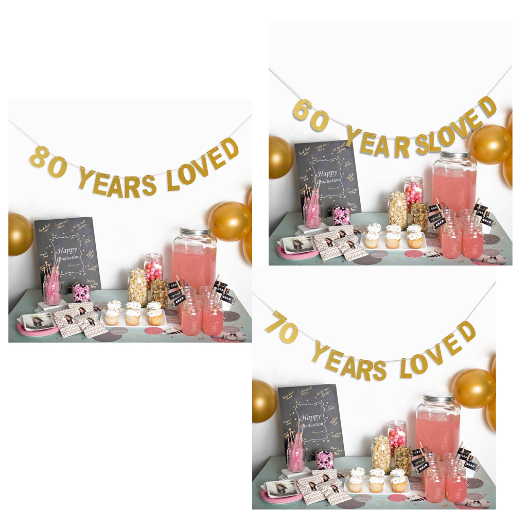80th Wedding Anniversary Gift: Golden Glitter 60th 70th 80th Year Loved Banner Wedding