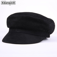 XdanqinX Autumn Winter Adult Mens Cap Second Layer Cowhide Army Military Hats Brand Bone Genuine Leather Flat Top Caps For Men