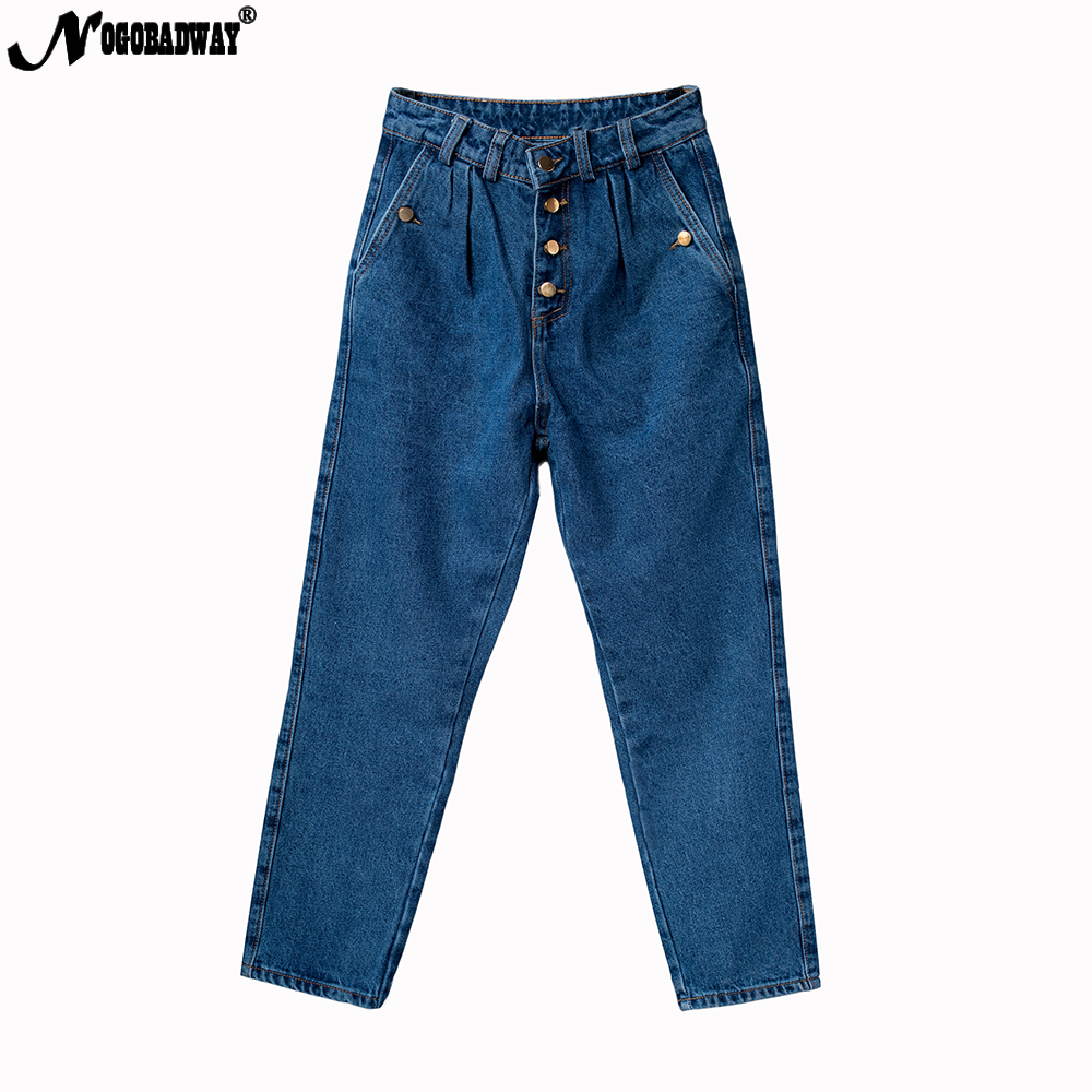 Boyfriend Straight Jeans Woman Button Wide Leg Denim Pants High Waist Femme Loose Washed Blue for Women Casual Vintage Winter