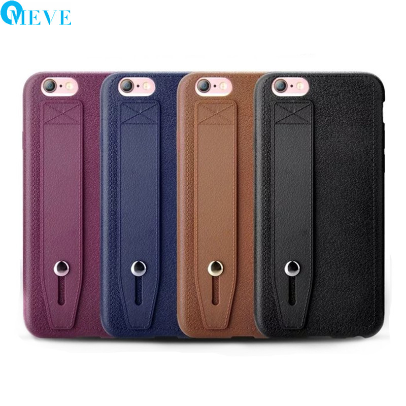 Fashion PU Leather Pattern and Soft TPU Back Cover Phone Case with Hand Grip Strap Holder for iPhone 5S/SE/6S/7 Plus