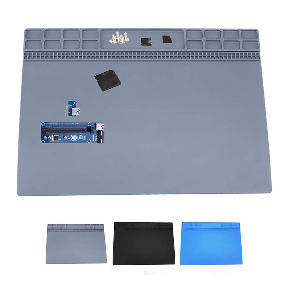 Black Gray Blue Magnetic Heat Silicone Pad Desk Mat Soldering Repair Tool For BGA 250*350mm