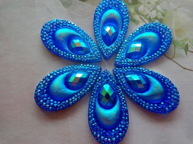 30pcs 16 30mm deep blue AB colour crystal sew on rhinestones water drop  shape flatback db1dece62b03