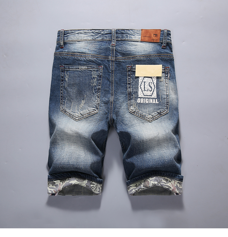 KSTUN Mens Jeans Shorts Summer Vintage Denim Shorts Elastic Fashion Designer Pockets Short Ripped