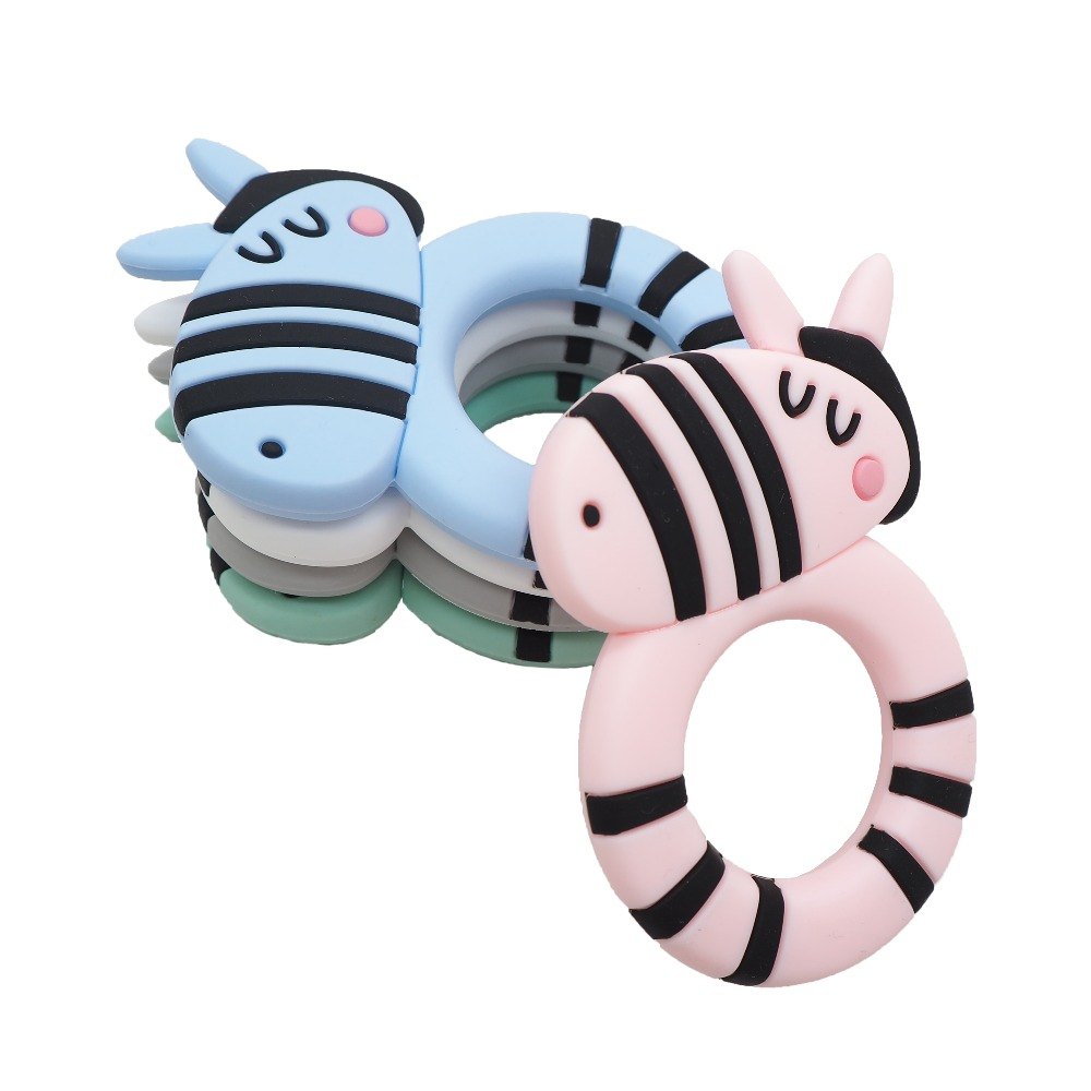 Chenkai 10PCS Silicone Cute Zebra Teether Ring Baby Soft Teething Chain BPA Free For DIY Baby Soothing Dummy Pacifier Clips in Baby Teethers from Mother Kids