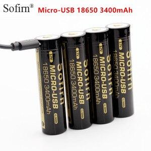 Sofirn micro usb 18650 bateria 3400 mah li-ion bateria recarregável 3.7 v led indicador usb dc-carregamento de célula inteligente