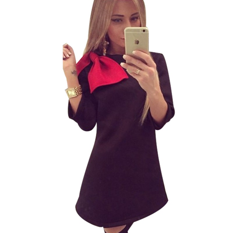 New-Autumn-Winter-Women-Casual-Dresses-Mini-Red-Bow-O-Neck-Vestidos-Women-Clothing-Dress-HQF0029G