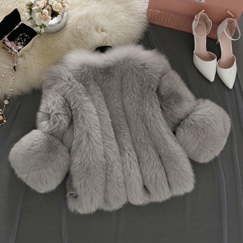 Coréen Courte Blanc Grande Taille En Renard rose Fausse De Faux D'hiver Fourrure Manteau gris Femmes FqAw7n8tfx