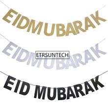 Złoto srebro EID Banner papier brokatowy Garland EID Mubarak Party muzułmańskiego święta trznadel Ramadan tanie tanio paper Banery QW9942 ETRSUNTECH