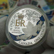 Europe British Queen Ninetieth Birthday Anniversary Coins Canada Maple Leaf UK Coin Can Drop Shipping(China)