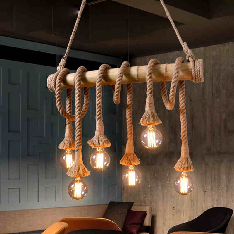 Lights & Lighting Ceiling Lights & Fans Systematic Vintage Retro Pendant Lights Loft Rope Bamboo Pendant Lamp Kitchen Dinning Room Light Fixtures Multi Lighting Luminaria Lamp Colours Are Striking
