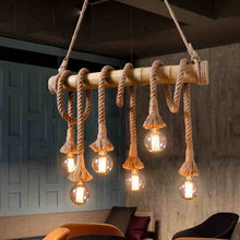 Vintage Retro Pendant Lights loft Rope bamboo Pendant Lamp Kitchen Dinning Room Light Fixtures Multi Lighting luminaria lamp(China)