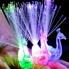 Magic Finger Ring Peacock LED Night Light Kids LED Funny light Toys Gift Party Supplies(China)