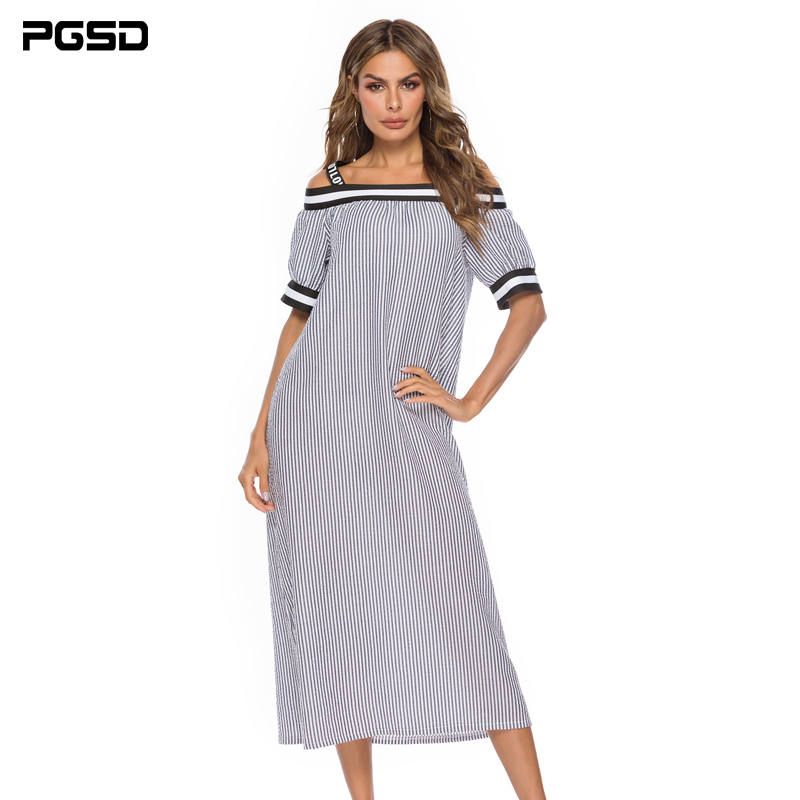 PGSD Summer loose casual boat neck Short sleeve Sling Spliced Striped Long Dress female Simple Fashion Pullover Women Clothes