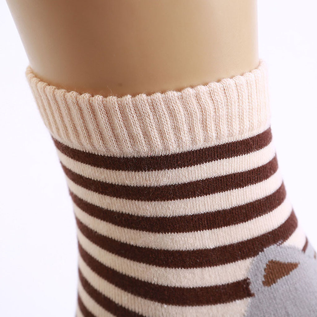 5PCS Ladies Women Students Funny Socks Cute Cartoon Fun Funky Striped Warm Sock