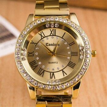 ¡Novedad de 2020! Lujoso reloj de oro para mujer, relojes de estrás de acero inoxidable, reloj de pulsera informal de cuarzo para mujer