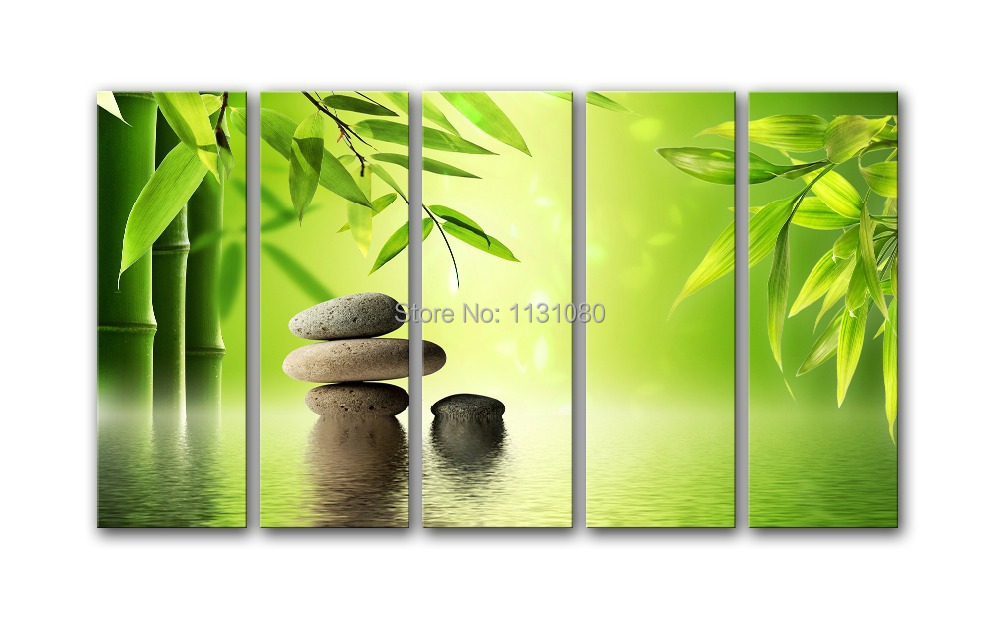 No FRAME toile seulement 5 peças abstraite peinture à l\'huile bambou ...