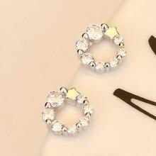 Modern Women Earrings 2020 Fashion Rhinestone Earrings For Women Charm Round Geometric Crystal Earrings Jewelry Accessories a suit of cute rhinestone geometric earrings for women