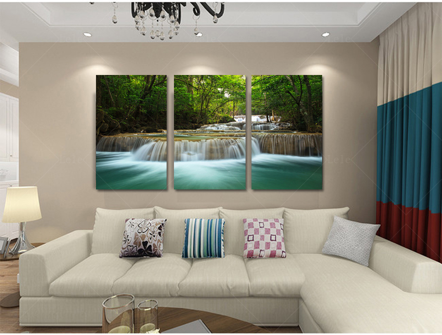 Home decoration art creek waterfall landscape painting modular spray canvas painting tv background wall pictures for