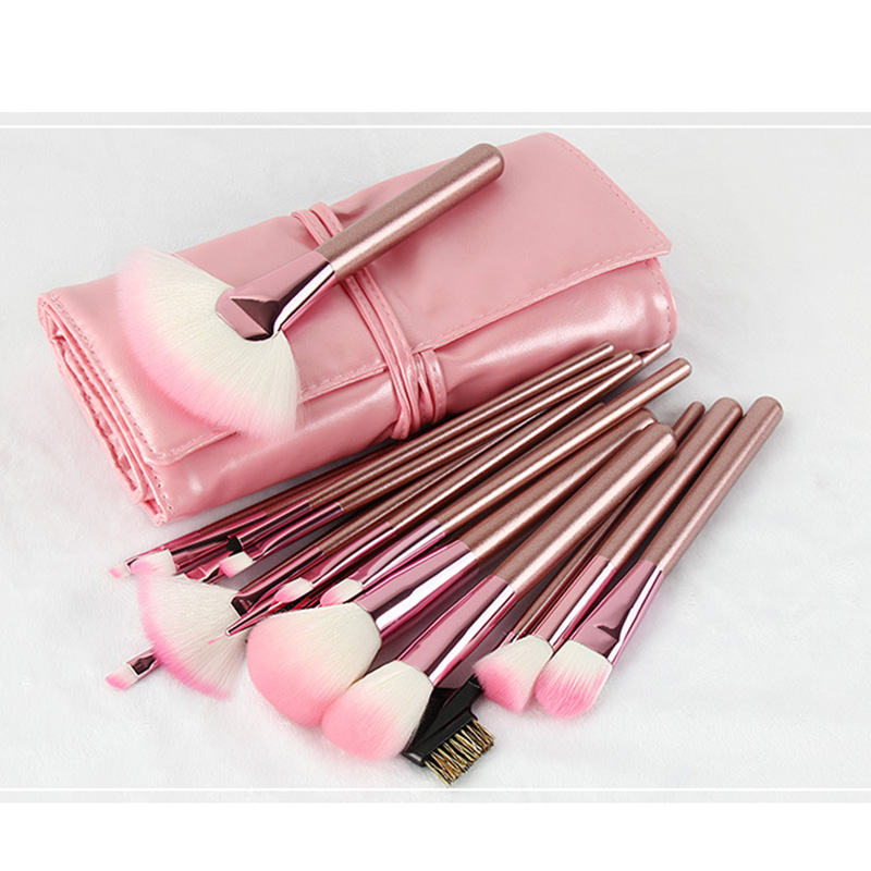New 22pcs Pink Bling Bling Unicorn Brushes Set Foundation Blending Power With PU Bag Makeup Brushes Set Cosmetic Tools professional cosmetic makeup brushes in a pink pu bag