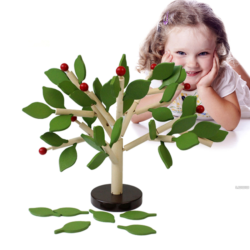 ФОТО Children toy wooden toy tree leaf puzzles environmental safe gift early education
