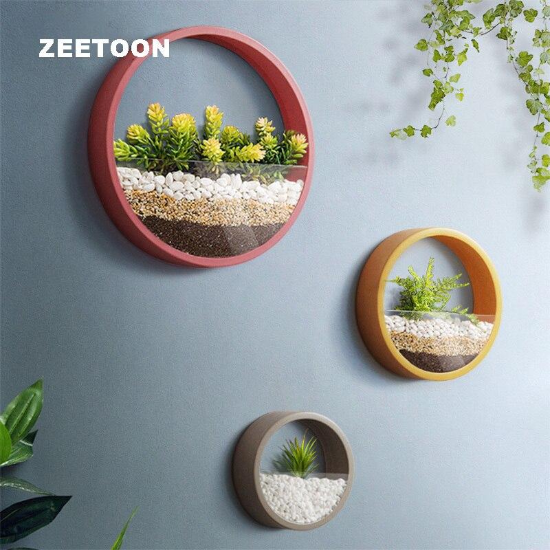 Colourful Simple Round Iron Art Succulent Plant Flowerpot Wall Vase Glass Planters Flower Pot Creative Home Office Wall Decor