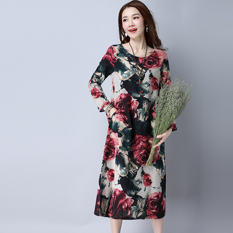 019 Senior Sleeve Large Size Cotton And Linen Dress Retro Flower Women Casual Loose Autumn Spring Dress Elegant vestidos YH91 in Dresses from Women 39 s Clothing