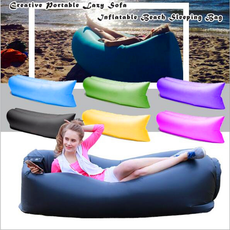 Unique 10s Inflatable laybag Sleeping Bag Leisure Hang out Lounger Air Camping Sofa Beach Nylon Fabric sleep Bed Hammocks lazy sofa wholesale air ounger bag camping for beach laybag saco de dormir acampamento inflatable kaisr laybag z126