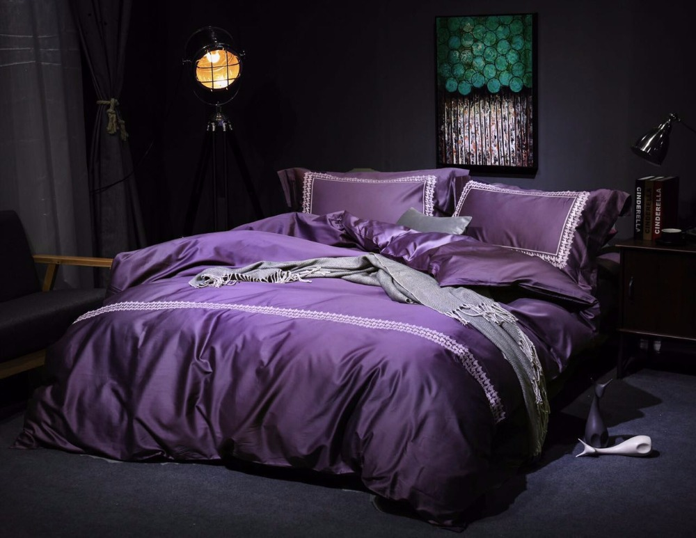 Solid Color Purple Silver Gold Bedding Set Queen King Size