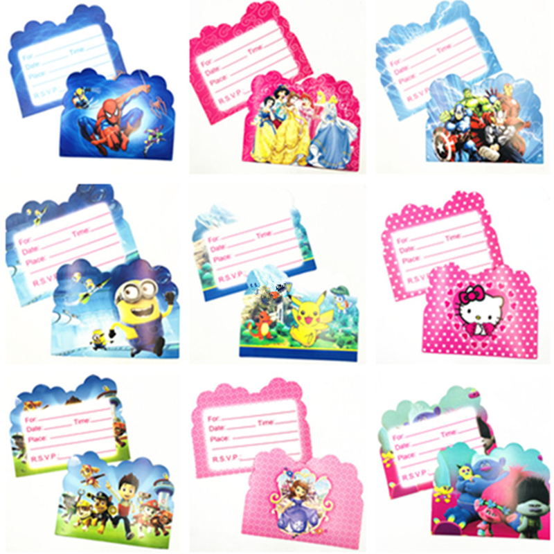 10pcs Baby Shower Invitations Ideas Princess Sofia Moana Minions Sipderman Happy Kids Birthday Party Invitation Card Supplies