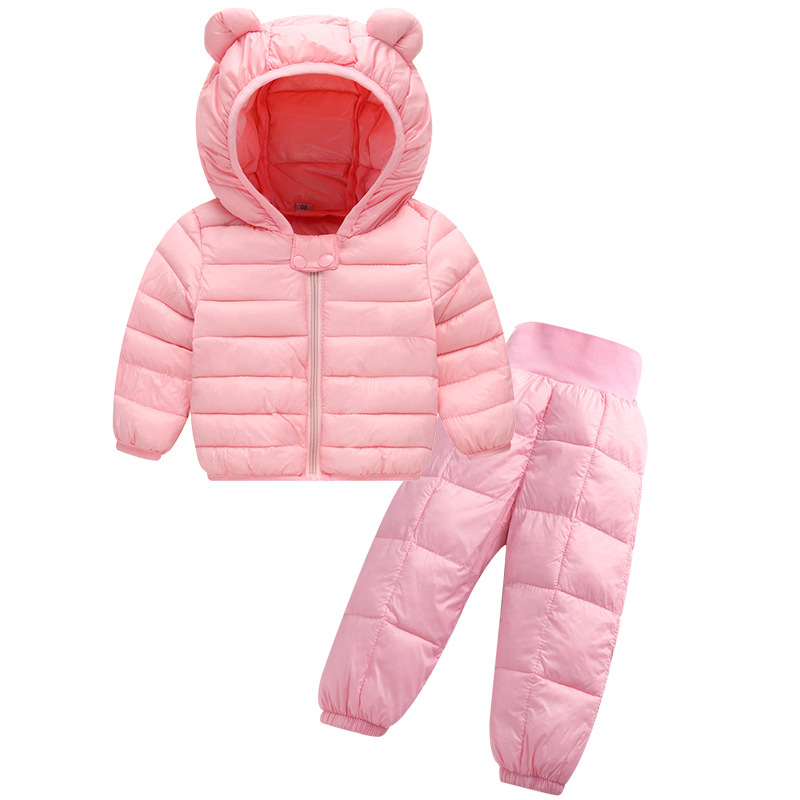 Winter Warm Baby Boys Girls Clothing Set Down Jacket And Down Pants 2 Pcs Suits Kids Hoodies Coats Children Outerwear Clothing(China)