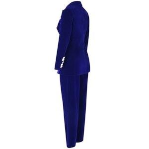 Image 3 - Ocstrade conjuntos de verão para as mulheres 2020 novo azul marinho com decote em v manga longa sexy 2 peça conjunto roupas alta qualidade conjunto duas peças terno