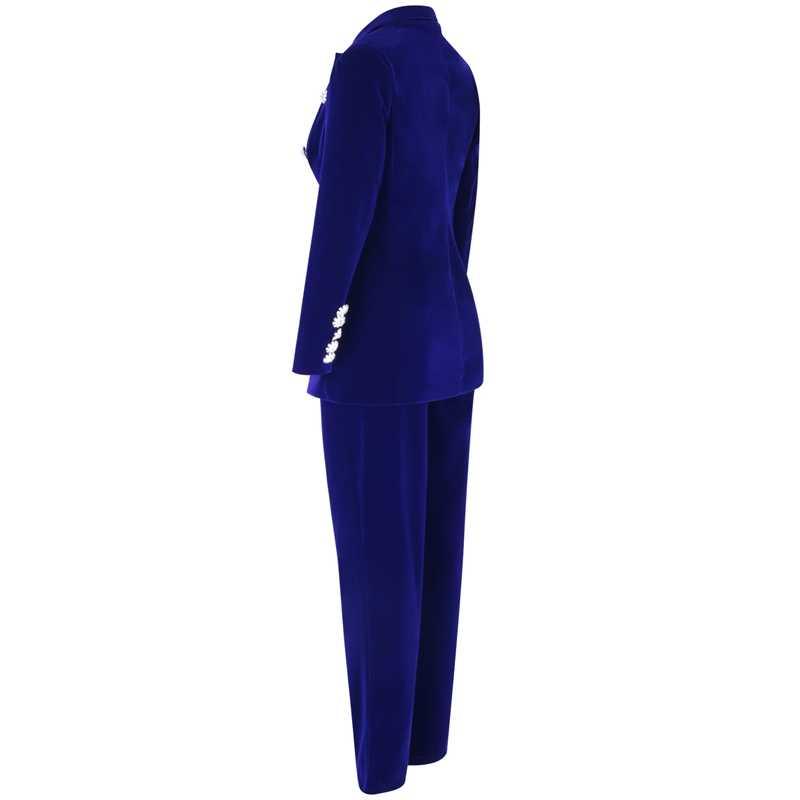 Ocstrade été ensembles pour femmes 2020 nouveau bleu marine col en V à manches longues Sexy 2 pièces ensemble tenues de haute qualité deux pièces ensemble costume