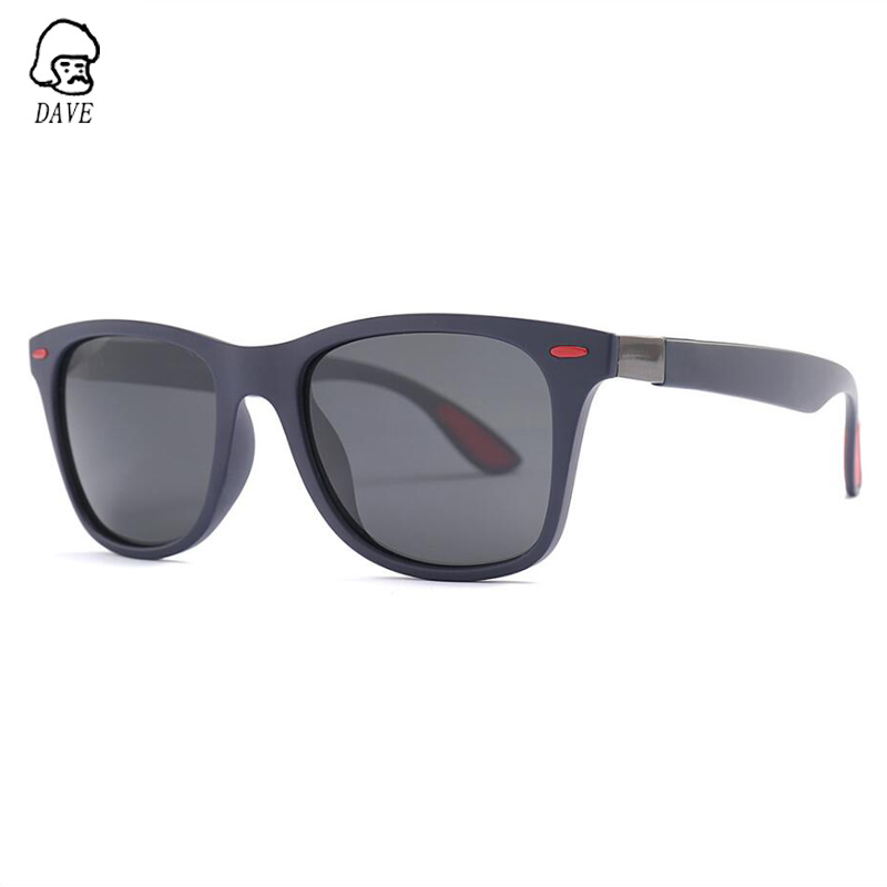 DAVE Brand Square Polarized Sunglasses Men TR90 Frame Driving Goggle Sun Glasses Male High-Quality Outdoor Eyewear With Case