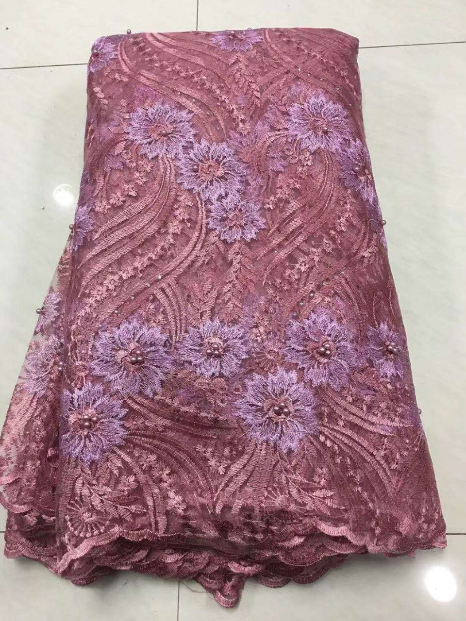 2019 African Laces Fabrics Embroidered Nigerian 3D Guipure French Cord Lace Fabric High-quality African French Net Lace Fabric (2)