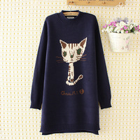 The 2018 Winter Costume Academy Style Backing Knitted Shirt in Long Cartoon Xiao Mao Loose Sweater