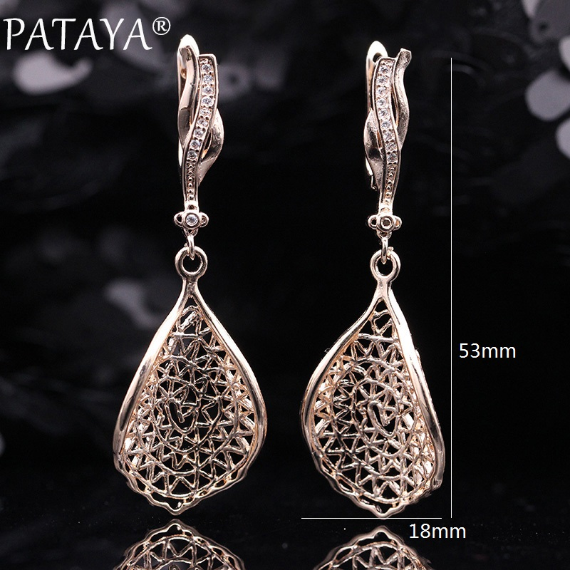 PATAYA New Gift Trendy 585 Rose Gold White Gold Natural Zircon Long Earrings Women Wedding Hollow Irregular Wave Earring Jewelry 6