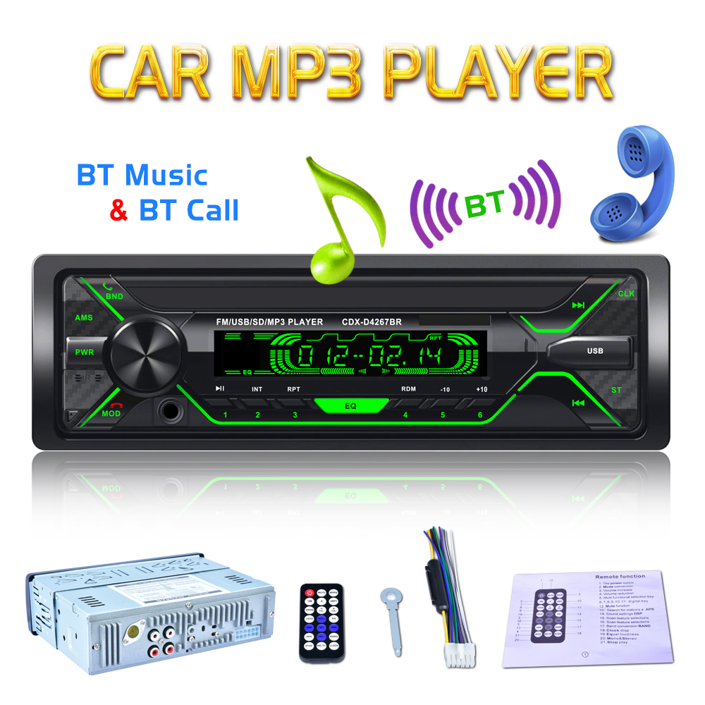 2018 NEW 12V 1 Din Bluetooth Car Radio Audio Stereo MP3 Player 7 Color Light Front Detachable Panel Support SD / FM / AUX / USB 1 din 12v digital bluetooth car radio audio stereo mp3 player 7 color light front detachable panel support sd fm aux usb