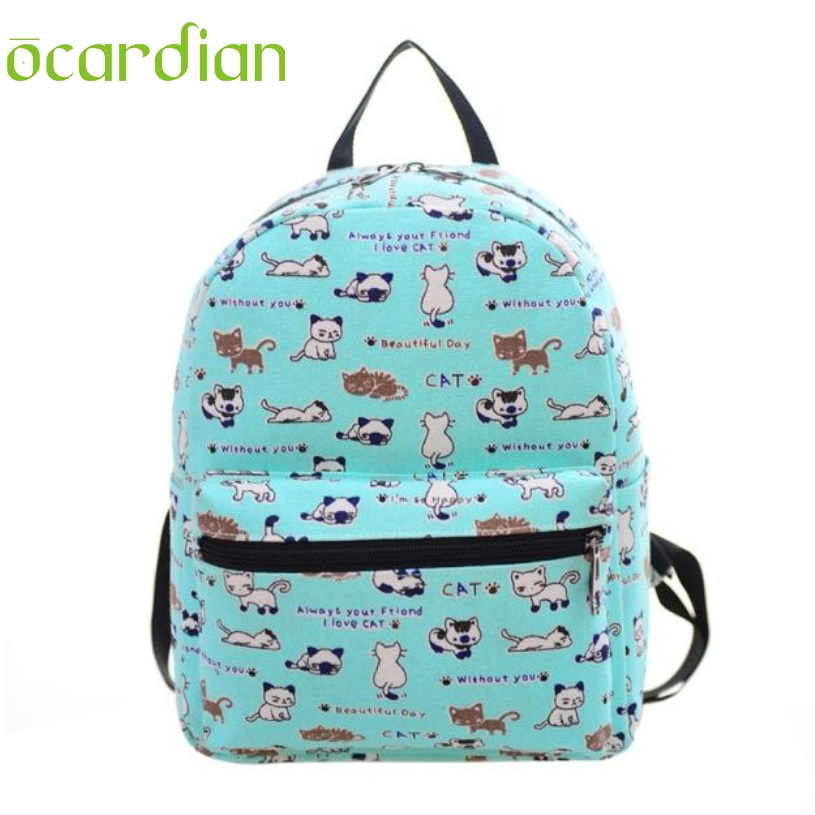 Aliexpress.com : Buy OCARDIAN Canvas Cat Printing Backpack Women ...