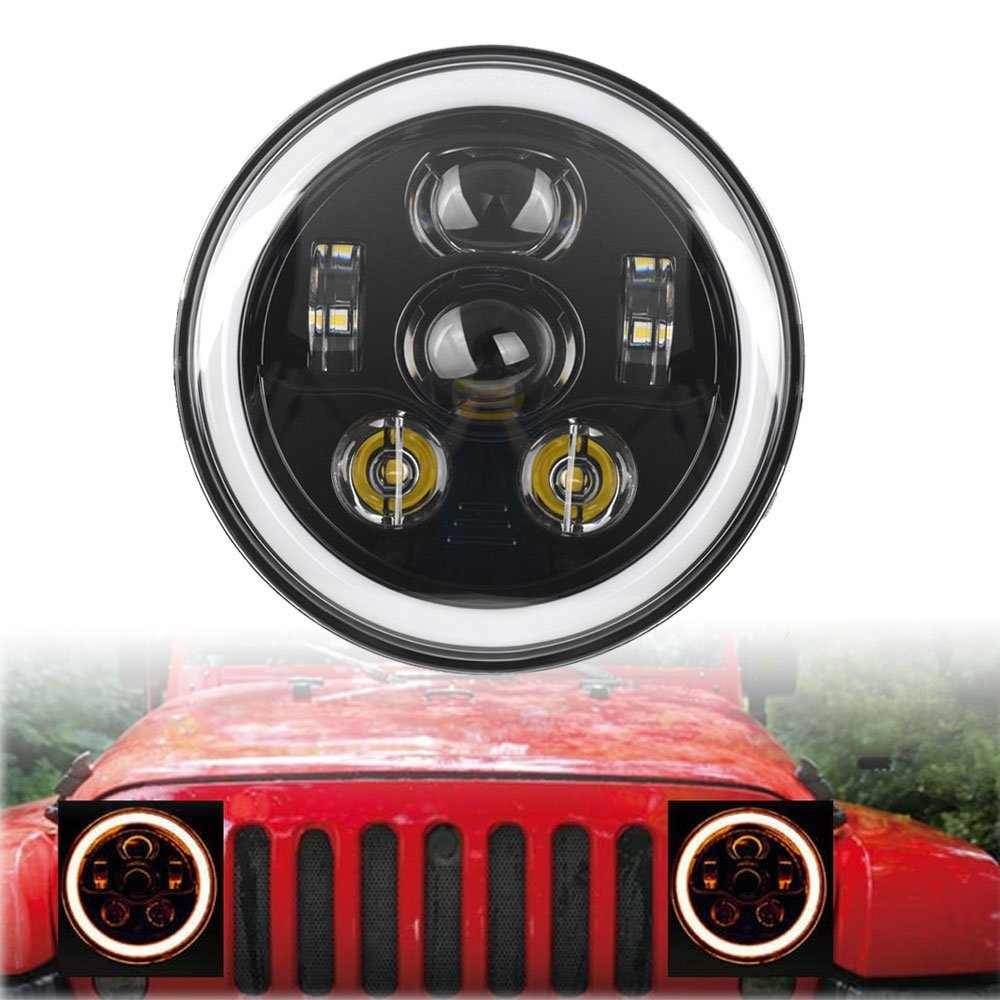 2X 7inch Round LED Headlights White Halo Ring Angel Eyes Amber Turn Signal For JEEP Harley Wrangler, Modified Lights & Fog Lamps