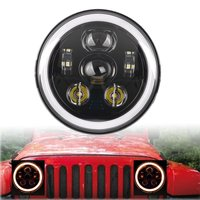 2X 7inch Round LED Headlights White Halo Ring Angel Eyes Amber Turn Signal For JEEP Harley