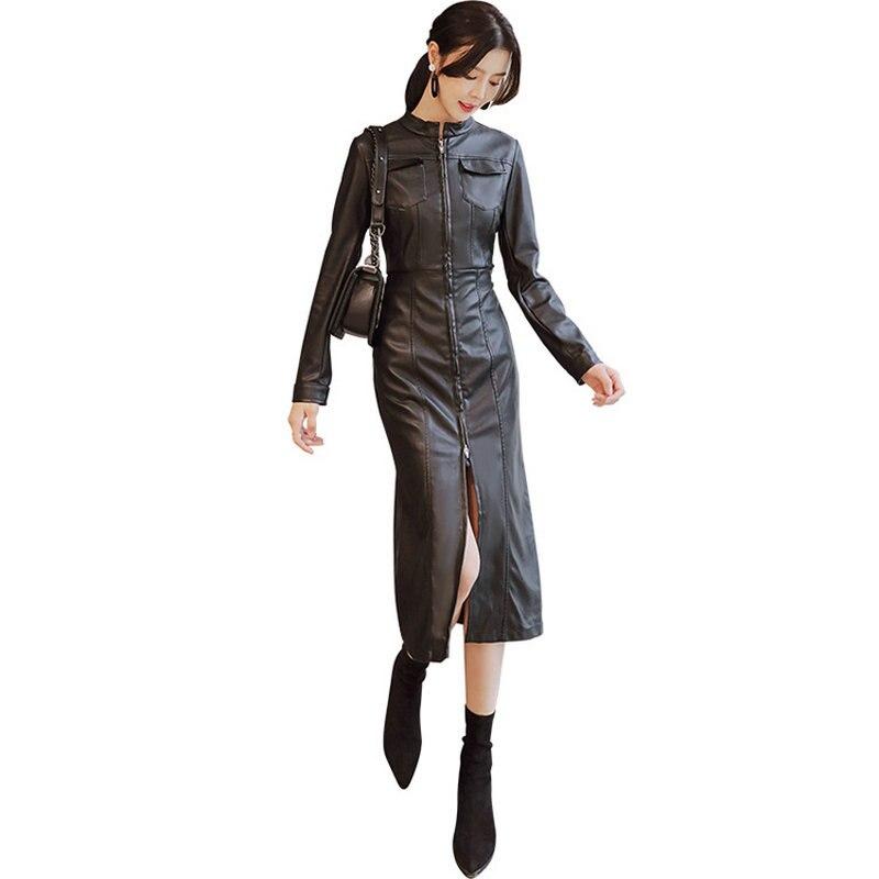 Fraîche Femelle Vestes Autunm Lady Cuir long Faux Mode Printemps Noir Nouvelles De Femmes Windbr X Manteau 2018 Survêtement gw0POaqx1