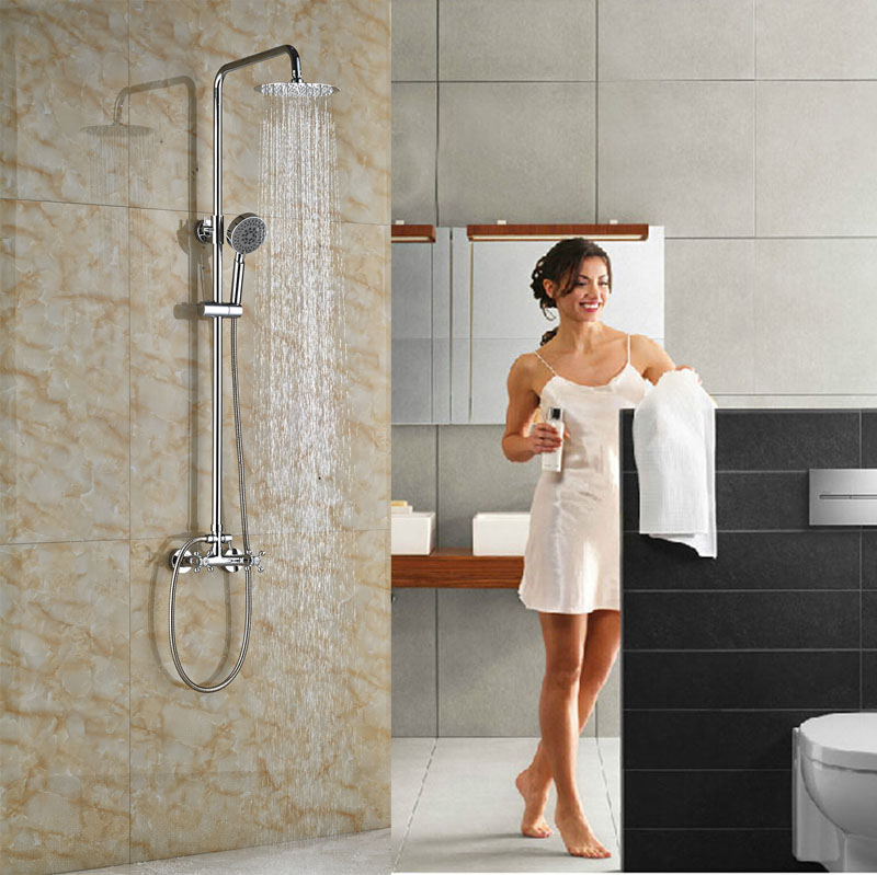 цена на Contemporary Wall Mounted Single Lever With Hand Shower Brass Chrome Finish Tub Shower Set