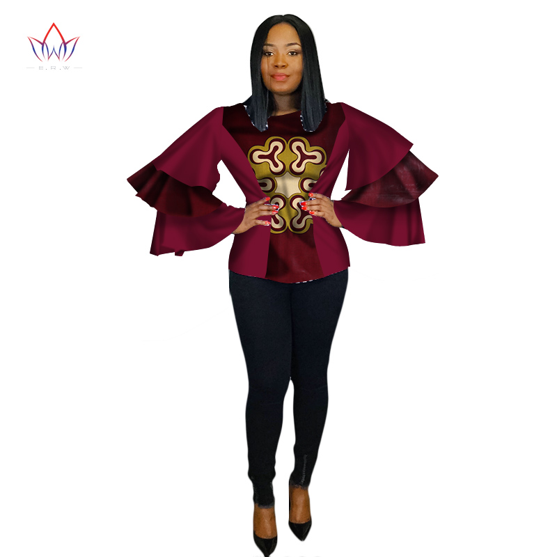 2018 New Dashiki African Women Clothing Bazin Riche Fashion Elegant Multi layer sleeves Shirts Ankara African Women Tops WY2241 in Africa Clothing from Novelty Special Use