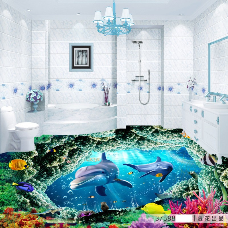 Free Shipping cute Dolphin 3D floor sticker wallpaper living room office studio wear floor wallpaper mural free shipping beach spray 3d dolphin sea floor non slip living room wallpaper office decoration studio wallpaper mural