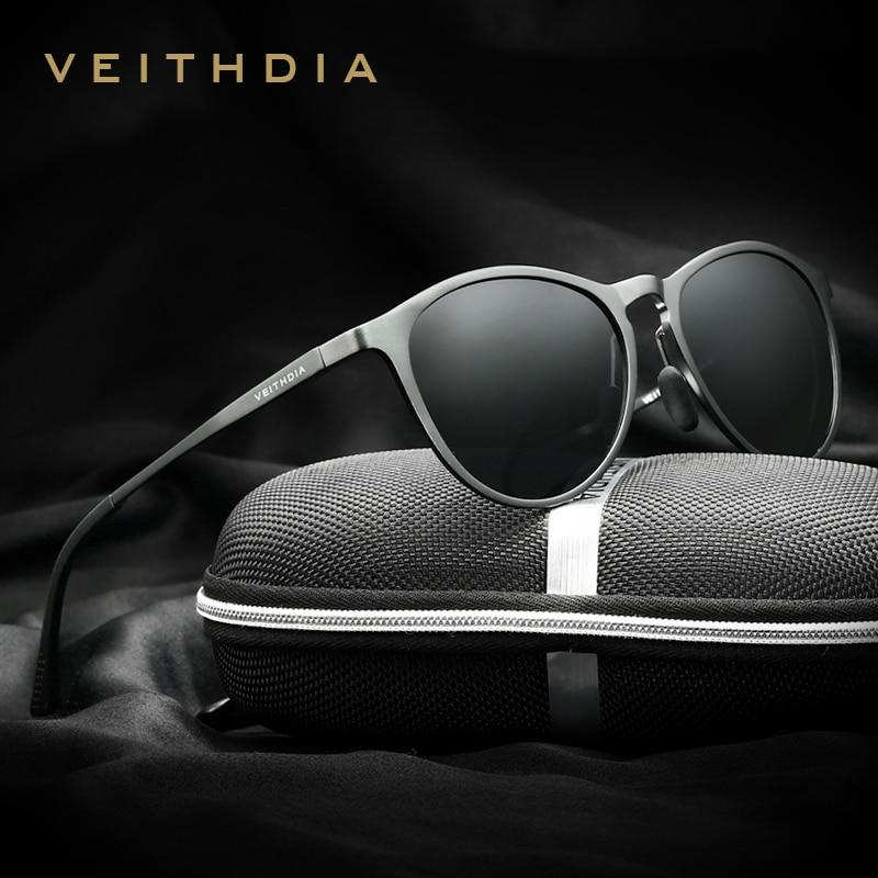 VEITHDIA Vintage Retro Brand Designer Original Box Solglasögon Män / Kvinnor Man Sun Glasses gavas oculos de sol masculino 6625