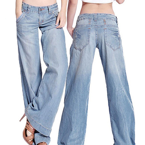 Temperamento das mulheres de Forma Magro Ocasional Do Vintage Wide-legged Calças de Brim Calças Compridas