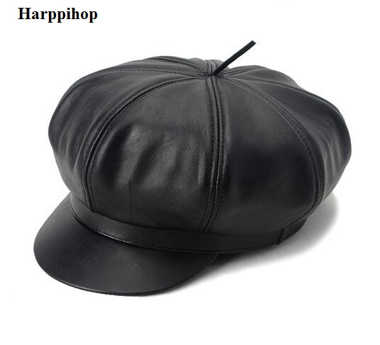 genuine leather hats caps 2014 new fashion students real leather caps Leisure military hats women and